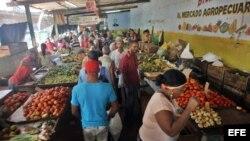 Varias personas compran productos en un mercado agropecuario en una foto de archivo.