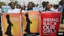 Manifestación en Nigeria para exigir la liberación de niñas raptadas
