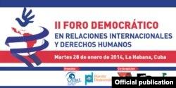 Logo del II Foro Democrático de Relaciones Internacionales y Derechos Humanos.