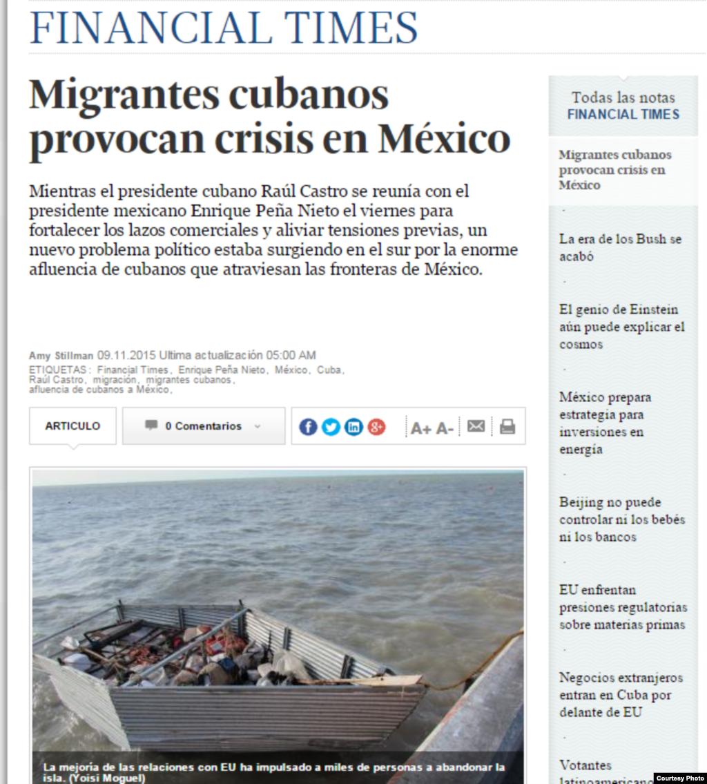 Según Financial Times, los oficiales mexicanos de migración advierten que el número de cubanos que llegan a través de la frontera sigue aumentando aunque el presidente mexicano, Enrique Peña Nieto, y el mandatario cubano, Raúl Castro, acaban de firmar un acuerdo.