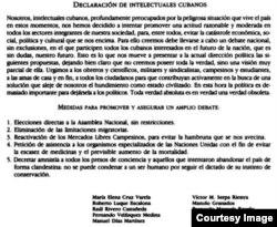 La Declaración del los Intelectuales cubanos.