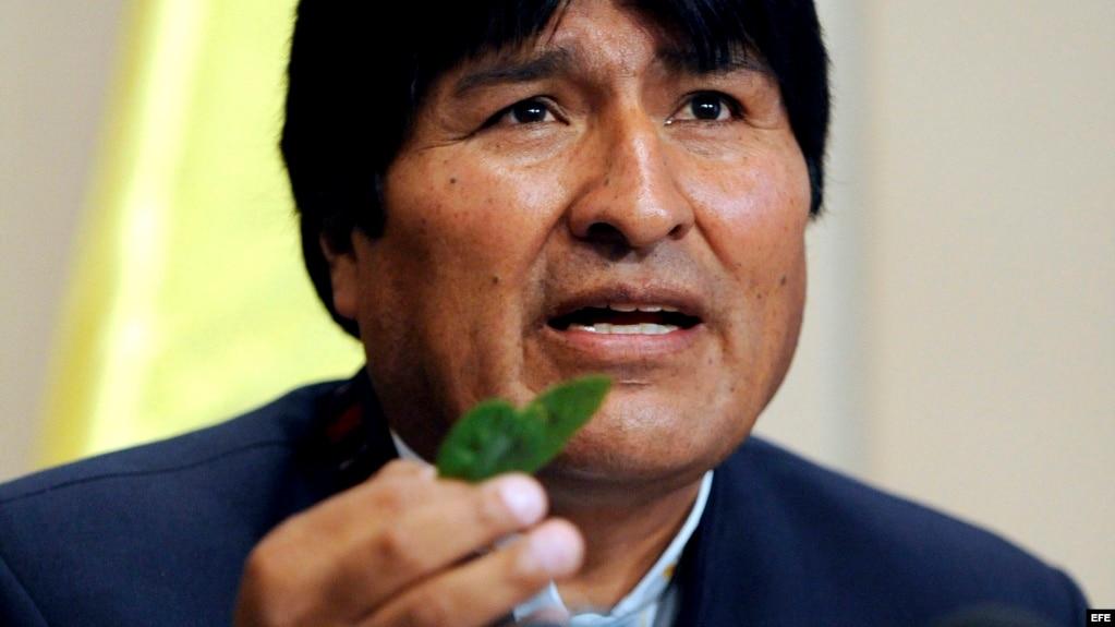 El presidente de Bolivia, Evo Morales, muestra hojas de coca.