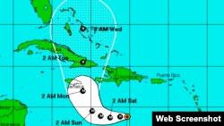 Trayectoria del huracán Matthew. (NOAA)