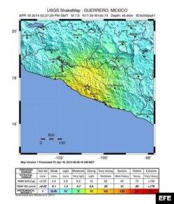Fotografía facilitada por el Servicio Geológico de Estados Unidos (USGS) que muestra un mapa con el epicentro, en amarillo, del terremoto. El epicentro se situó a 41 kilómetros al sur de Petatlán, muy cerca de la costa del estado sureño de Guerrero, a una profundidad de 10 kilómetros.