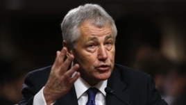 Former U.S. Senator Chuck Hagel (R-NE) testifies during a Senate Armed Services Committee hearing on his nomination to be Defense Secretary, on Capitol Hill in Washington, January 31, 2013. Hagel, 66, is a decorated Vietnam War veteran and a former two-te