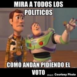 También endilgan bocadillos sobre las elecciones venezolanas a los famosos personajes de Toy Story.