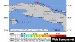 Zona afectada por el sismo de 4,4 grados en la escala de Richter
