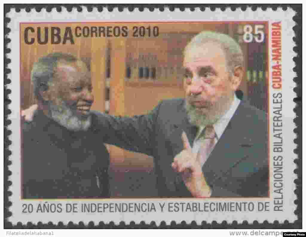 Sello emitido en 2010 con Fidel Castro