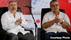El ministro del Petróleo de Venezuela, Eulogio del Pino (der.) y el presidente de PDVSA, Nelson Martínez (izq) fueron destituidos y luego detenidos por el gobierno de Nicolás Maduro.(El Nacional)