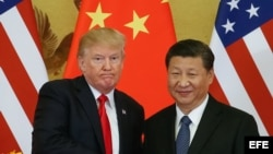 El presidente estadounidense, Donald J. Trump (i), y el presidente chino, Xi Jinping (d), se dan la mano durante una rueda de prensa, 9 de noviembre e 2017, en el Gran Palacio del Pueblo, en Pekín (China). EFE/Roman Pilipey