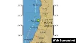 Mapa del Centro Sismológico Nacional de Chile con la ubicación del sismo.