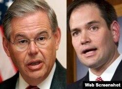 Los senadores cubanoamericanos Bob Menéndez y Marco Rubio