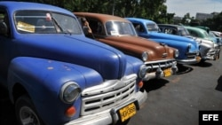 Viejos automóviles estadounidenses utilizados como taxis particulares.