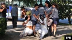 Miembros de la Policía y de la seguridad cubanas disuelven por la fuerza una protesta de las Damas de Blanco en La Habana, donde reclamaban la libertad de los presos políticos. EFE/Alejandro Ernesto