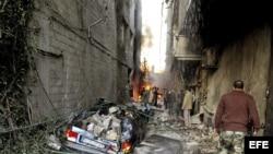 El escenario de un ataque con coche bomba en Yarmana, de mayoría drusa, en Damasco, Siria.
