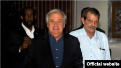 El secretario general de Naciones Unidas, antonio Guterres, a su llegada a La Habana, este lunes, 7 de mayo de 2018.