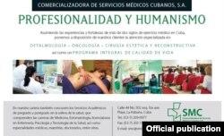 Un anuncio de la Comercializadora de Servicios Médicos Cubanos.