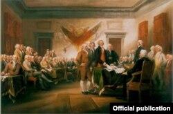 Cuadro sobre la presentación de la Declaración de Independencia al primer Congreso de EE.UU.