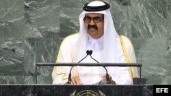 El emir de Catar, Hamad Bin Jalifa al Zani, pronuncia un discurso durante la inauguración de la 67 sesión de la Asamblea General de la ONU en Nueva York, EE UU.