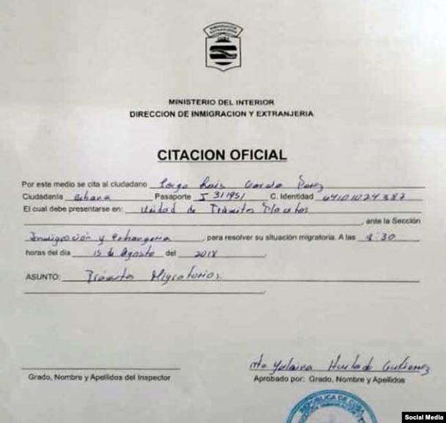 Citación recibida por Antúnez.