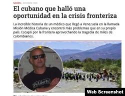 Imagen del artículo publicado en Semana con el médico cubano Leobel González en primer plano.