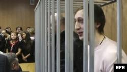 El exbailarín de Bolshói Pável Dmitrichenko, en la celda de los acusados en el Tribunal Meshanski de Moscú, Rusia.