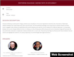 El anuncio del panel sobre fe en la diplomacia en la Cumbre de la Concordia.