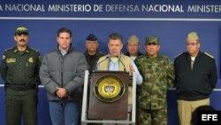 Juan Manuel Santos durante su anuncio de la suspensión del ciclo de diálogos con la guerrilla de las FARC (16 de noviembre).