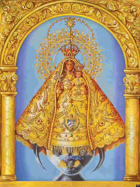 """2- Virgen de la Caridad del SEPI Instituto Pastoral del Sureste. Serie """"Los arcos de la Virgen"""", 24 Vírgenes latinoamericanas (cerámica, 18x24 pulgadas)."""