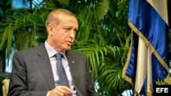El presidente de Turquía, Recep Tayyip Erdogan, en el Palacio de la Revolución de La Habana (Cuba)