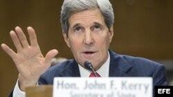 El secretario de Estado estadounidense, John Kerry, comparece en una audiencia ante el Comité de Relaciones Exteriores del Senado