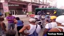Reporta Cuba. Imágenes de operativo en la calle Monte, en la Habana Vieja, el 20 de noviembre.