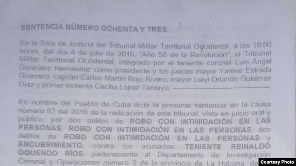 El periodista independiente Manuel Guerra Pérez tuvo acceso a la sentencia.