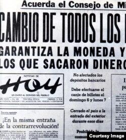 La noticia del cambio de moneda en 1961.