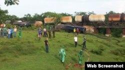 El tren se descarriló en el tramo Santa Clara-Cienfuegos.