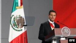 El mandatario de México, Enrique Peña Nieto, durante su mensaje en el Palacio Presidencial tras su investidura ante el pleno de la Cámara de Representantes el sábado 1 de diciembre de 2012, en la capital mexicana.