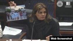 La Dama de Blanco Sara Marta Fonseca habla en el Congreso de Estados Unidos.