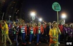 El equipo olímpico de Cuba participa en la ceremonia de bienvenida a la Villa Olímpica de Río 2016.