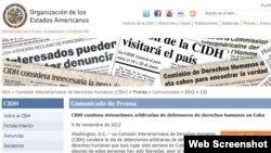 Denuncia sobre arrestos en Cuba en la página web de la CIDH.