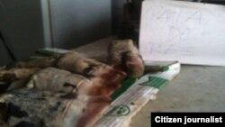 Reporta Cuba. Venta de pata de res. Foto enviada a 1800 Online.
