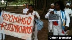 Reporta Cuba. Damas de Blanco y activistas pro DDHH, durante su 40 jornada de represión por la campaña #TodosMarchamos. Foto: Ángel Moya.