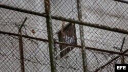 El dirigente político de oposición Leopoldo Lopez se asoma por una ventana de su celda en la Prisión Militar de Ramo Verde, desde donde saluda a su esposa, Lilian Tintori y su madre, Antonieta Mendoza de López, el sábado 15 de noviembre del 2014, en la ciudad de los Teques, Venezuela.