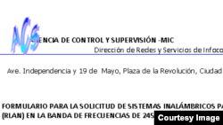 Permiso del Ministerio Comunicaciones de Cuba.