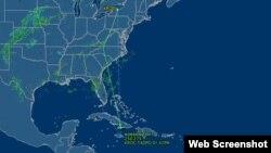 Ruta prevista del avión y trayectoria que ha realizado hasta Cuba, mostrada por la web Flight Aware.