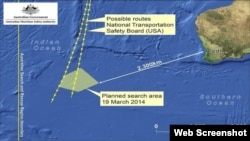 Gráfico de la zona de búsqueda revisada de los restos del avión malasio.