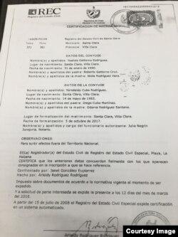 Acta de matrimonio de Yoelvis Gatorno y Yarisleidy C. Rodríguez.