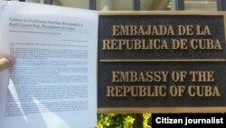 FANTU entregó esta carta en la Embajada de Cuba en Washington.