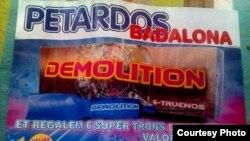 Publicidad para comprar explosivos en los días cercanos a la noche de San Juan, en Barcelona.