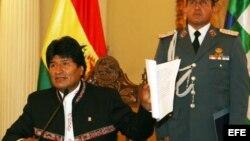 Evo Morales durante una rueda de prensa en La Paz (Bolivia).