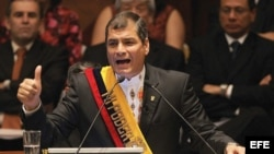 El presidente izquierdista de Ecuador Rafael Correa.
